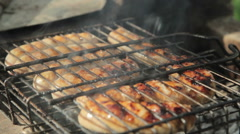Grilled sausages over a fire at a picnic Stock Footage