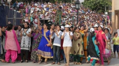 Ladies and girls dance at wagah border ceremony,Wagah,Punjab,India Stock Footage