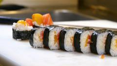 Sushi Chef Presenting Salmon Peach Futomaki Roll Stock Footage