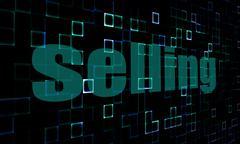 Pixelated words selling on digital background - stock illustration
