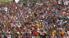 Spectators at wagah border ceremony,Wagah,Punjab,India Stock Footage