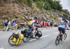 Amateur Cyclists on the Roads of Le Tour de France Stock Photos