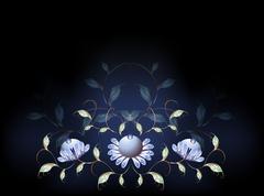Fantastic blue flowers on a black base. EPS10 vector illustration - stock illustration