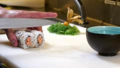Sushi Chef Cutting Salmon Uramaki Roll Stock Footage
