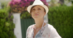 Woman in Summer Fashion Looking at the Camera - stock footage