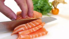 Sushi Chef Slices a Salmon Steak Nigiri Style Arkistovideo
