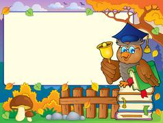 Stock Illustration of Autumn frame with owl teacher - eps10 vector illustration.