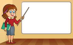 Stock Illustration of Woman teacher standing by whiteboard - eps10 vector illustration.