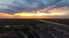 Us Highway aerial shoot. sunset Stock Footage