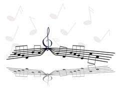 Notes and treble clef Stock Illustration