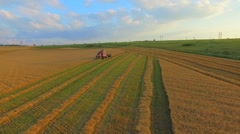 AERIAL VIEW. A Wheat Field Being Harvested Stock Footage