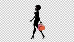 Fashion Girl Animated Character with Alpha channel - Shopping Walk Cycle 04 Stock Footage