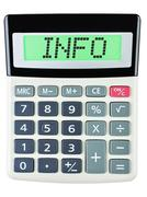 Calculator with INFO Stock Photos