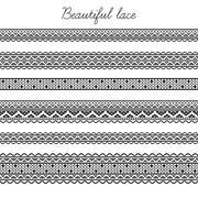 Beautiful seamless lace segments for scrapbooking, card decoration etc - stock illustration
