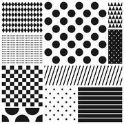 Black and white geometric seamless patterns set - stock illustration