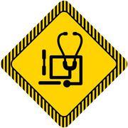 Stethoscope and tongue depressors icons - stock illustration