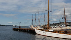 Time lape from Classic sailships in the harbor of Oslo Norway Stock Footage