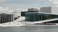 The Oslo Opera House on a cloudy day in Norway Stock Footage