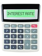 Calculator with INTEREST RATE - stock photo