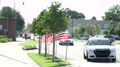 Flag Lined Main Street USA Stock Footage