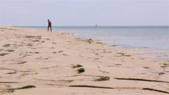 Algarve Ria Formosa Armona Island Coast Beach People  - Young Girl Shot 2) Stock Footage