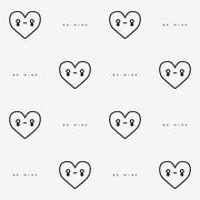 St. Valentines Day seamless pattern with heart character Stock Illustration