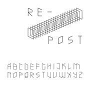 Modern zip code style sans serif font in uppercase Stock Illustration