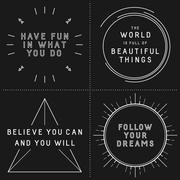 Set of typographic designs with inspirational quotes in hipster style Piirros