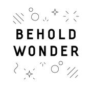 Stock Illustration of 'Behold wonder' quote design with abstract shapes in linear style