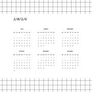 2016 calendar design with grid background (July-December) - stock illustration