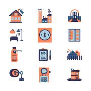 Rent of residential property flat icons - stock illustration