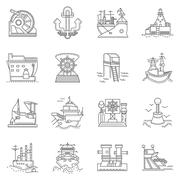Ships and ports line icons Stock Illustration