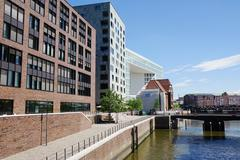 Hafencity Hamburg at Ericusgraben Stock Photos