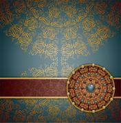 Retro background with ornament, - stock illustration