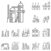Plants and factories line vector icons Stock Illustration