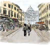 Street in Italy Stock Illustration