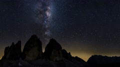 Stock Video Footage of milky way moving over mountain peak alps dolomites
