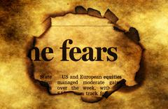 Fears text on grunge  paper hole - stock photo