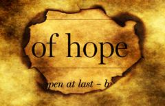 Stock Photo of Hope text on grunge  paper hole