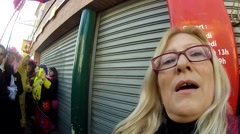 Crowd of carnavaliers jubilant for the dunkerque carnival Stock Footage