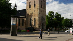 Tilt up from the Oslo Cathedral in Norway Stock Footage