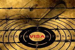 Visa target concept against barbwire Stock Photos
