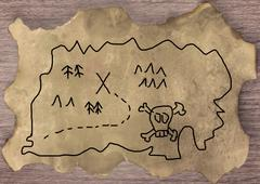Treasure map - stock illustration