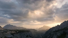 Pan shot of alpine landscape at the sunset Stock Footage