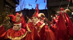 Parade of the group of the young boy in the carnival of Limoux in France Stock Footage