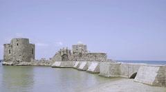 Sidon Sea Castle Lebanon Stock Footage