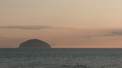 Static view of Ailsa Craig, Scotland (Left of scene) Stock Footage