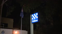Police Station at night Stock Footage