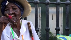 Cubans smoking cigar in Havana, Cuba - stock footage