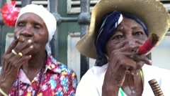 Cubans smoking cigar in Havana, Cuba Stock Footage